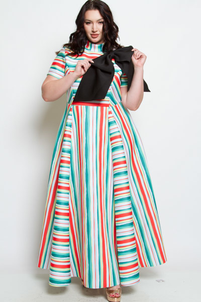 SHORT SLEEVES HIGH NECK MAXI DRESS WITH RIBBON POINT