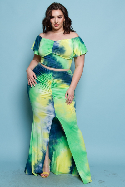 TIE DYED SEXY COLD SHOULDER TOP AND SKIRTS SET