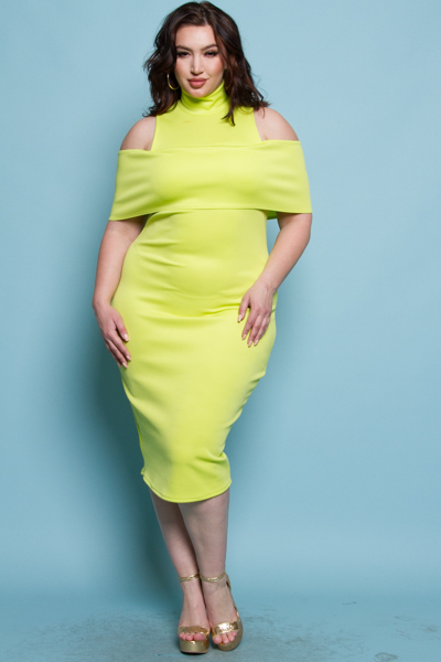 UNCONVENTIONA COLD SHOULDER FITTED MIDI DRESS
