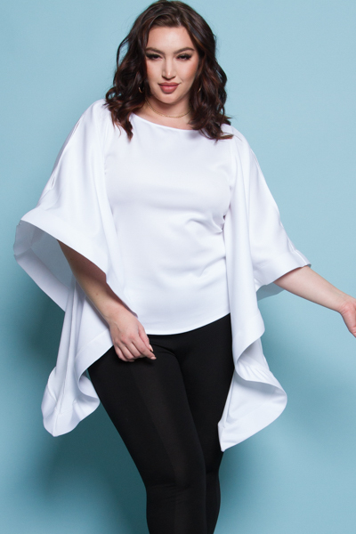 ROUND NECK COLD SHOULDERS LONG CASCADE SLEEVE SOLID TOP