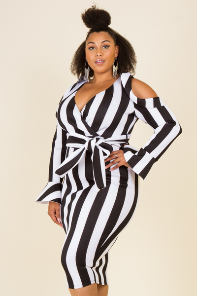 Plus size stripe wrap cold shoulder midi dress