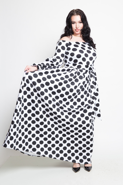 Off shoulder polka dot self-tie waist maxi dress