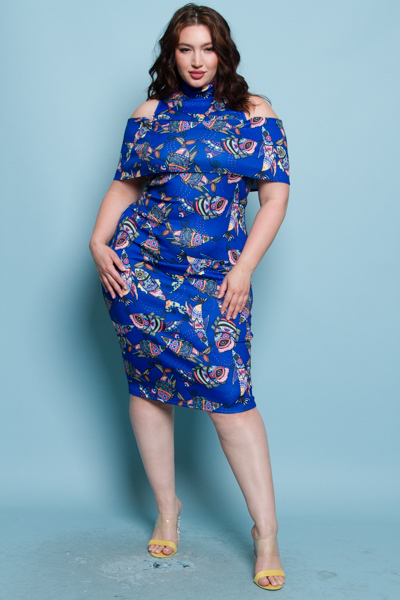 UNCONVENTIONAL COLD SHOULDER FITTED MIDI DRESS