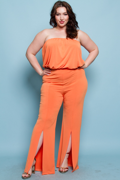 TUBE TOP FULL SHIRRING SOLID BOTTOM SLIT JUMPSUITS