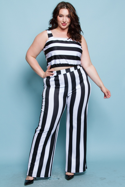 BLACK AND WHITE STRIPE TOP AND BOTTOM SET