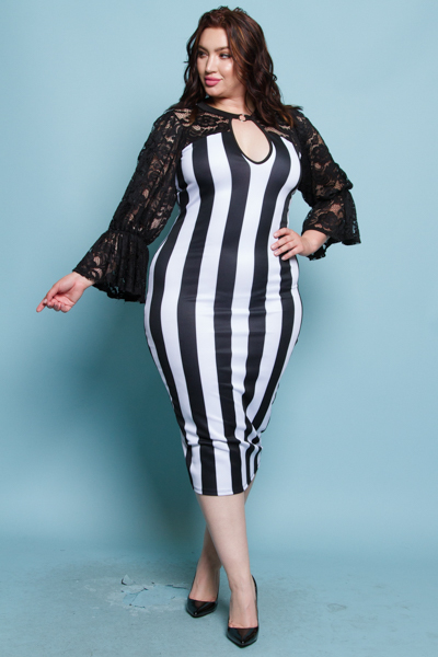 BLACK AND WHITE STRIPE BODY BEAUTIFUL LACE COMBO COCKTAIL DRESS