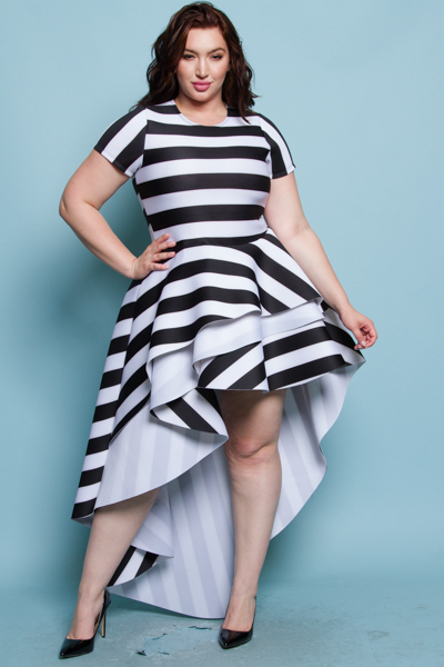 Short sleeves off shoulder cascade tail dress