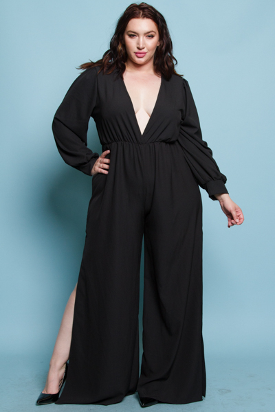 DEEP V NECK LONG PUFFED OUT SLEEVES WITH A SLIT ON BOTH SIDES OF THE BOTTOM SOLID RED JUMP SUIT