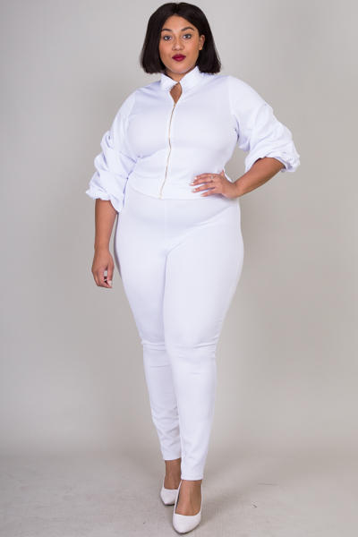 RUFFLE POINT SLEEVE TOP AND PANTS SET