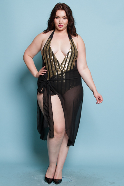 SEQUINS BODY SUIT AND TIED WRLAP SKIRT COMBO