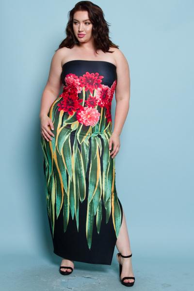 SPECIAL FLOWER PRINTED SIDE SLIT TUBE DRESS