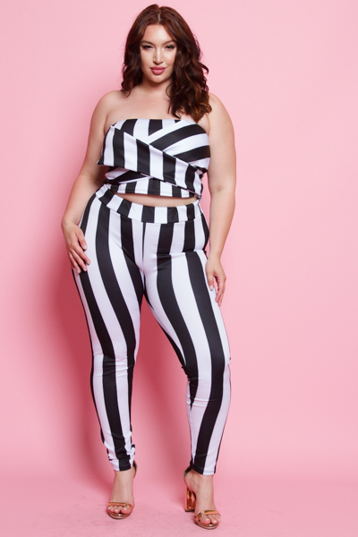 STRIPE CROSS TUBE TOP POINT WITH PANTS SET