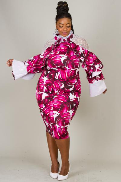 ELEGANT HIGH NECK FRILLED PRINTED DRESS