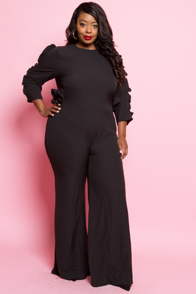 SLEEVES AND OPEN BACK RUFFLE JUMPSUIT