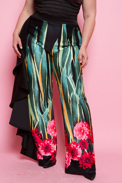 SIDE RUFFLE POINT WITH BORDER FLOWER PRINT PANTS