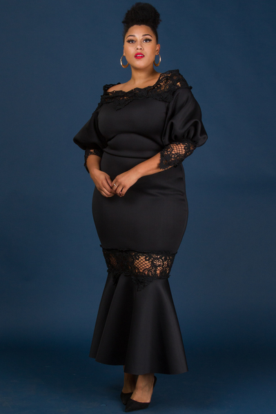 ELEGANT STYLE LACE POINT FITTED LONG DRESS