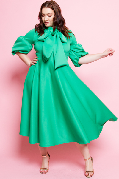 3/4 PUFFED OUT SLEEVES WITH BOW MINI DRESS