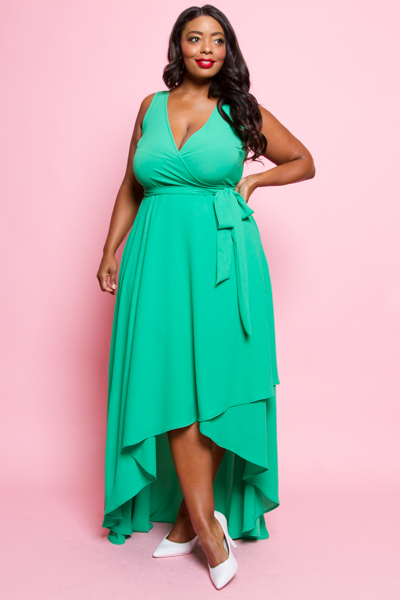 SLEEVELESS WAIST TIIE WRAP DRESS