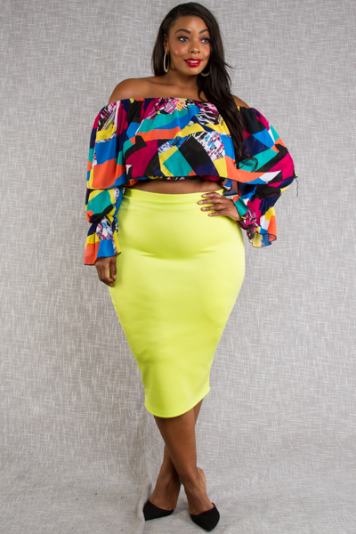 OFF SHOULDER MULTI COLOR TOP WITH SOLID SKIRTS SET