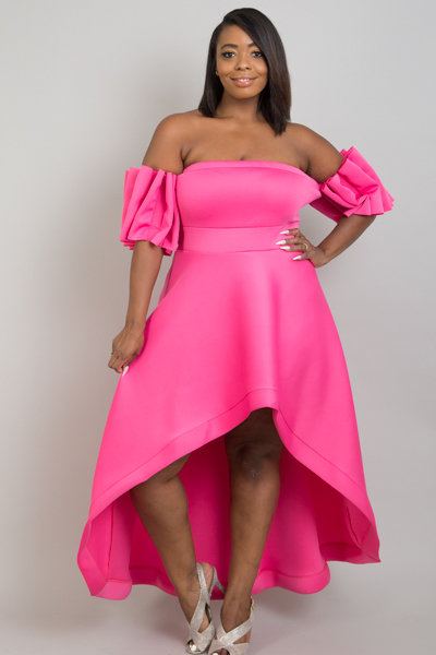 TUBE TOP WITH BESONDER SLEEVE HIGH LOW SKIRT DRESS