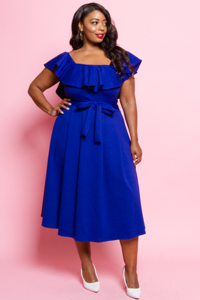 PEPLUM SHOULDER AND SLEEVE PLEAT SKIRT DRESS