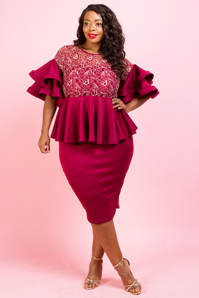 LACE TOP AND SLEEVE POINT  PEPLUM DRESS