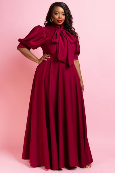 SHORT PUFFED OUT SLEEVES WITH BOW LONG FLOWY DRESS