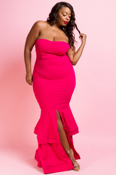 MERMAID STYLE TUBE TOP MAXI DRESS WITH SEXY CENTER SLIT