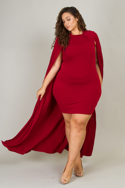 Casual Cape Back Solid Mini Dress