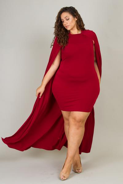 Casual Cape Back Solid Mini Dress