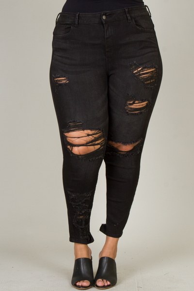 PLUS SIZE DESTORYED PANTS
