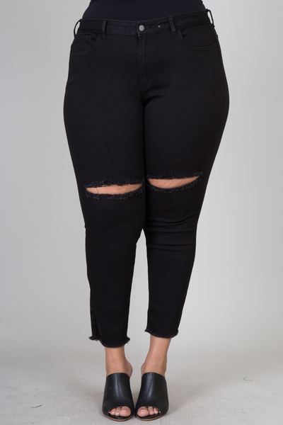 Plus size destroyed skinny pants