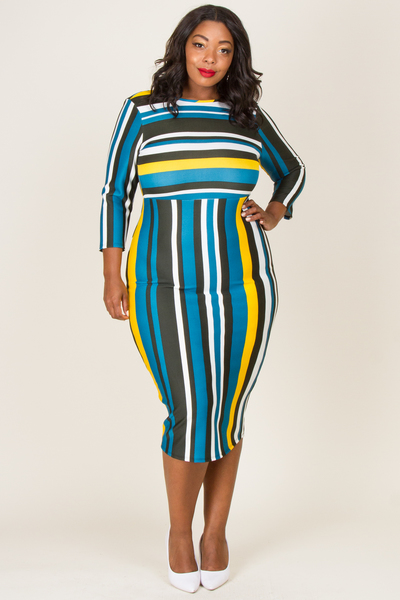TWO STRIPE FITTED SEXY BACK MIDI DRESS