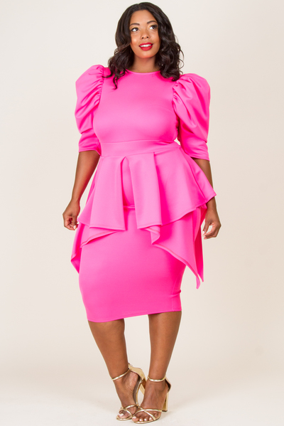 ROUND NECK PUFFED SHORT SLEEVE WITH LAYER DRESS