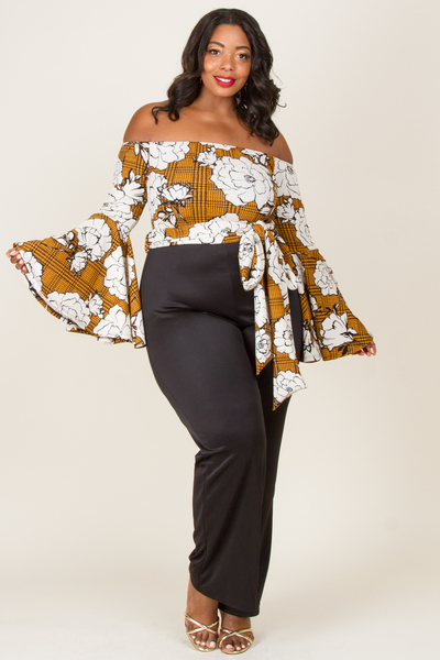 OFF SHOULDER PRINTED CASCADE SLEEVE TOP WITH SOLID JUMPSUIT