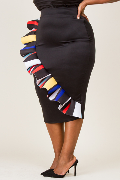 PRINTED PLEAT POINT MINI SKIRT
