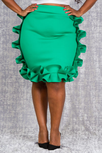SIDE AND EDGE RUFFLED SOLID SKIRT