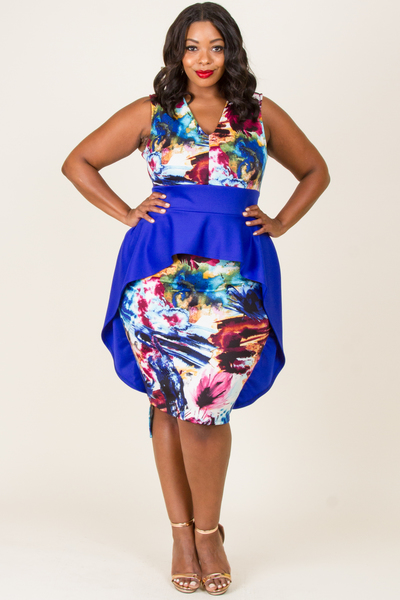 PRINTED AND SOLID COMBO CASCADE RUFFLED DRESS