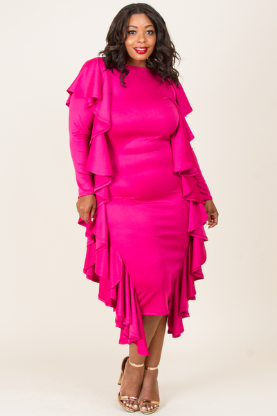 ROUND NECK LONG SLEEVE WITH SIDE RUFFLED MIN DRESS