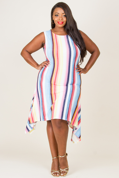 ROUND NECK SLEEVELESS MULTI COMFY STRIPE DRESS