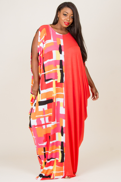 ROUND NECK GEO PRINT AND SOLID HALF AND HALF KIMONO INSPIRED DRESS