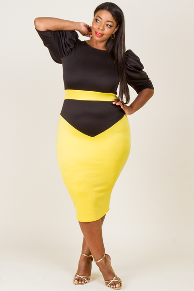 ROUND NECK PUFFED SLEEVE COLOR BLOCK FITTED DRESS