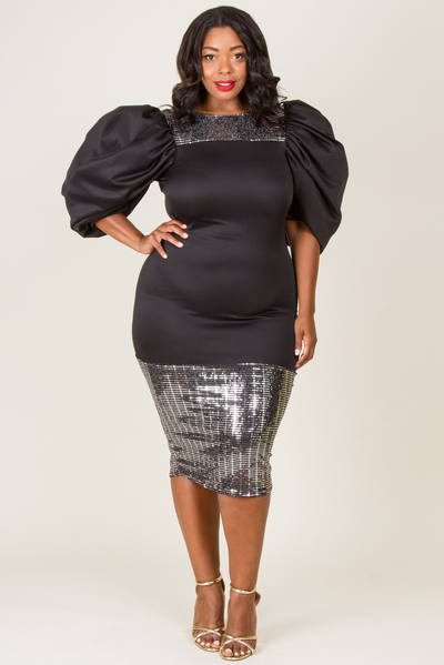 ROUND NECK PUFFED SLEEVE TOP AND BOTTOM SHINY POINT DRESS