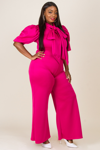 PUFFED SLEEVE TIED RIBBON JUMPSUIT