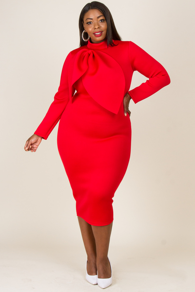 MOCK NECK LONG SLEEVE FRONT  RIBBON POINT FITTED DRESS