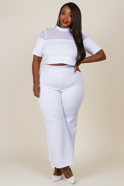MOCK NECK MESH WITH SOLID TOP AND PANTS SET