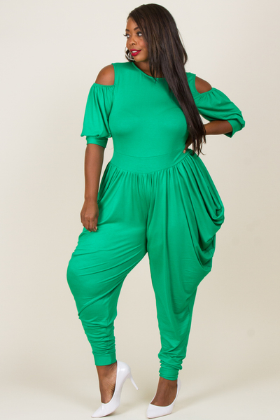 COLD SHOULDER LONG SLEEVE BAGGY PANTS JUMPSUIT