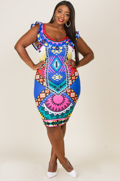 FLOUNCE TOP ENGINEER PRINT FITTED DRESS