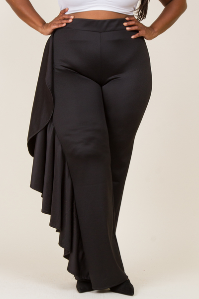 SIDE RUFFLE POINT SOLID PANTS