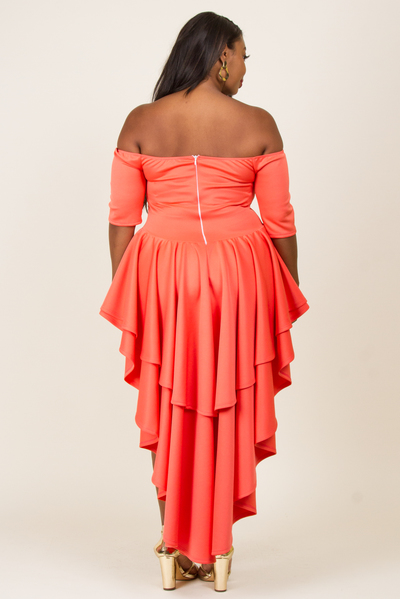 OFF SHOULDER BUST LINE SHAPE BACK TWO LAYRED  DRESS